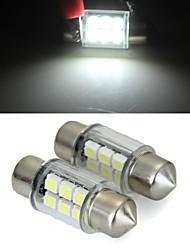 cúpula branca 6 LED SMD de carro interior lâmpada 31 milímetros (2 peças)