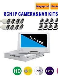 Strongshine® IP Camera with 720P/Infrared/Waterproof and 8CH NVR with 10.1Inch LCD Combo Kits