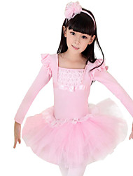 Ballet Dresses Children's Performance Cotton / Spandex Cascading Ruffle / Lace / Pattern/Print 1 Piece Blue / Pink
