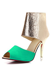 Women's Shoes Satin / Glitter / Customized Materials Stiletto Heel Heels / Peep Toe Sandals Party &  Dress / Green