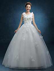 A-line Wedding Dress Court Train Jewel Lace / Tulle with Lace