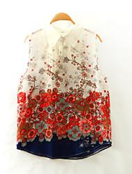 Damen Blumen Einfach Lässig/Alltäglich T-shirt,Hemdkragen Sommer Ärmellos Mehrfarbig Andere Dünn