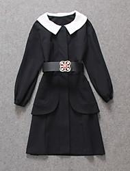 vestido de trabalho / casual / dia turno sólida boutique s das mulheres, peter pan colarinho até o joelho outros