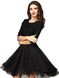 Women's Lace 3/4 Sleeve Solid Color Round Neck Swing Dress