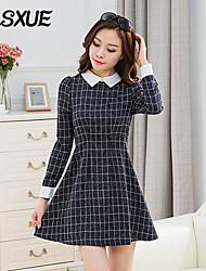 DLSXUE Women's Work / Simple Color Block / Check Sheath / Sweater Dress , Shirt Collar Above Knee Cotton / Polyester