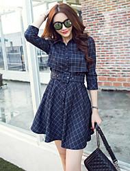 trabalho / casual / dia xadrez skater vestido boutique s das mulheres, colarinho da camisa de mini nylon
