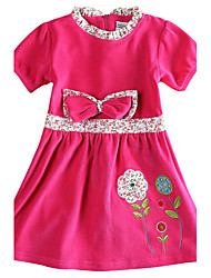 Children's Dress Kids Clothes Short Sleeve Girls Dresses (Random Printed)