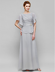 Lanting Bride® Sheath / Column Mother of the Bride Dress Ankle-length Short Sleeve Chiffon with Crystal Detailing / Side Draping
