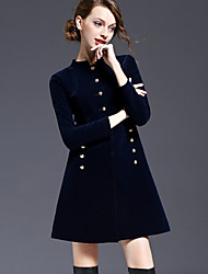 Party/Cocktail Vintage A Line Dress,Solid Stand Mini Long Sleeve Blue Others Spring High Rise Micro-elastic