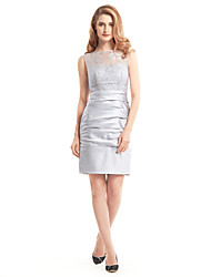 Lanting Bride® Sheath / Column Mother of the Bride Dress Short / Mini Sleeveless Lace / Satin with Lace