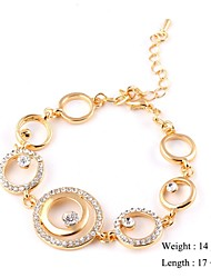European Style Elegant Circle Zircon Chain Bracelet Gold Plated