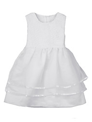 New Girls Kids Tiered Tulle Dress Crochet Belt Sleeveless Children Wedding Party Tutu Dress White