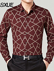 DLSXUE Men's Long Sleeve Shirt , Cotton Work / Formal Plaids & Checks