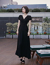 casual / dia / praia sólida vestido da bainha estilo feminino coreano, profunda v maxi poliéster / spandex
