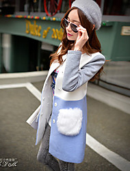 Pink Doll®Women's  Color Block Blue /White Coat , Plush Pocket Work / Casual / Day / Simple Long Coat