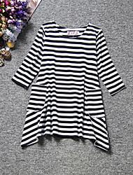 Girl's Black Dress,Stripes Cotton Summer / Spring