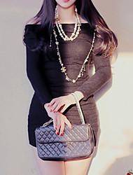 estilo coreano mulheres casuais / dia vestido da bainha sólida, barco pescoço mini-lã / acrílico