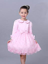 A-line Knee-length Flower Girl Dress - Organza / Satin Long Sleeve Scalloped with