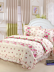 Flowering Season, Full Cotton Reactive Printing Stripe Pastoral Flowers Bedding Set 4PC, FULL Size