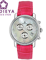 KEDIEYA Rose Pink Genuine Leather 60 Zircon Diamond Mosaic Calendar Date Chronograph Ladies Womens Watches Gifts