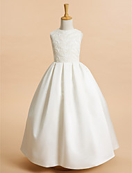 A-line Ankle-length Flower Girl Dress - Lace / Satin Sleeveless Jewel with Lace