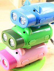 2 LED Hand Power Press Pig Shaped Flashlight Dynamo Light Torch Keychain (Random Color)