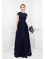 Floor-length Chiffon / Lace Bridesmaid Dress Ball Gown Jewel