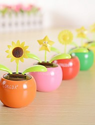 Home Office Car Solar Automatic Swing Sun Flower Insect Petals Ornaments(Ramdon Color)