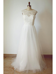 A-line Wedding Dress Sweep / Brush Train Scoop Tulle with Lace