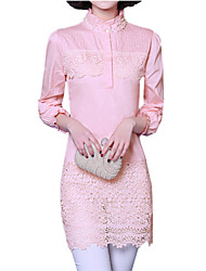Spring Women's Slim Was Thin Sexy Lace Splice Stand Collar Long Sleeve Long OL Shirt Blouse Tops