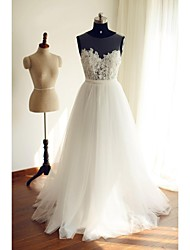 A-line Wedding Dress See-Through Floor-length Scoop Lace Tulle with Lace Sash / Ribbon
