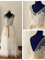 A-line Wedding Dress Floor-length V-neck Lace / Tulle with Appliques / Sash / Ribbon