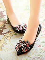 Zapatos de mujer - Tacón Bajo - Puntiagudos - Planos - Oficina y Trabajo / Vestido / Casual - Semicuero - Negro / Azul / Rojo