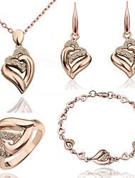 Jewelry Set Shining Crystal Elegant Heart Pendant Necklace Bracelet Ring Earring(Assorted Color)