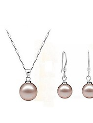 Jewelry Set Elegant Classic Imitation Pearl Pendant Necklace Earring Girlfriend Gift
