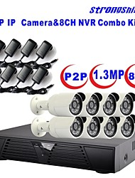 strongshine®ip camera met 960p / infrarood / waterdicht en 8CH h.264 NVR combo kits