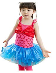 Ballet Dresses Children's Performance Cotton / Spandex / Polyester Lace / Ruffles / Animal Print 2 Pieces Red Performance Backless