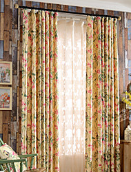 Colorful Bloom Lilac Flowers And birds Print Blackout Lined Curtains Drapes Two Panels