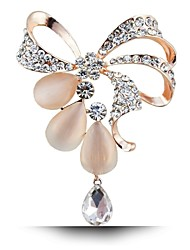 America and Europe Women Crystal Rhinestone Bow Brooch Pin Alloy 18k Gold Plating Opal Brooches For Wedding