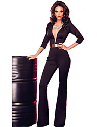 Women's  Sleeved Plunging Jumpsuit