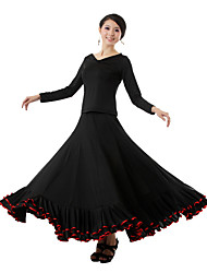 Ballroom Dance Outfits Women's Performance Milk Fiber Draped 2 Pieces Black Modern Dance Skirt / Top