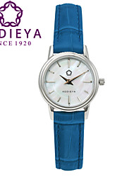 KEDIEYA Brand Genuine Leather Blue Waterproof White Mother of Pearl Women Quartz Watch