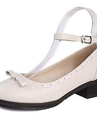 Zapatos de mujer - Tacón Bajo - Puntiagudos / Punta Redonda - Tacones - Vestido / Casual - Semicuero - Negro / Marrón / Rojo / Blanco