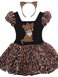 Ballet Dresses Children's Performance Cotton / Spandex / Polyester Ruffles / Leopard 2 Pieces Leopard Print Performance BacklessShort