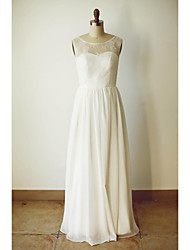 A-line Wedding Dress Floor-length Scoop Chiffon with Lace