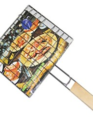 BBQ Mesh Wood Handle Barbecue Clip Net Outdoor Grilled Fish Burgers  Grill Barbacoa