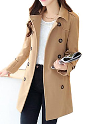 Women's Trench Coat,Solid Long Sleeve Spring / Fall / Winter Blue / Brown Wool / Polyester / Others Medium