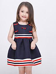 Girl's Blue Dress Polyester Summer