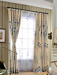 (One Panel)Linen Cotton Soft Branches Leaves Print Room Darkening Curtain