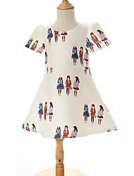 Girl's Black / White Dress,Print Rayon All Seasons